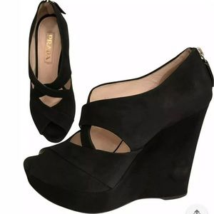 Prada suede crisscross open toe cutout wedge shoes